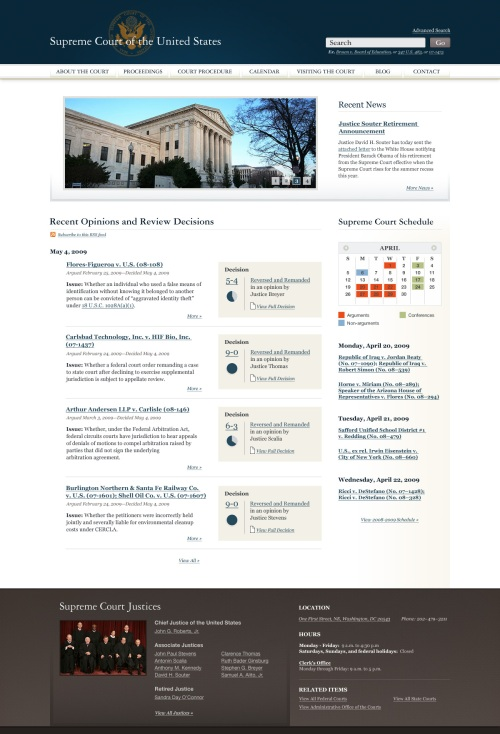 The Sunlight Foundation's mockup of a new Supreme Court website