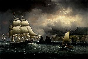"The Clipper Ship ""Flying Cloud"" off the Needles, Isle of Wight, by James E. Buttersworth, 1859-60"